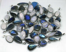 Moonstone and Labradorite Gemstone Pendants Lot 925 Sterling Silver Plated Wh-32