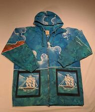 Nautical Blue Jacket Coat Size Men's M Asian Creations Indonesia Tie Dye