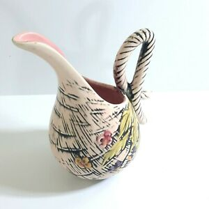 Vintage Hull Art Pottery Pitcher Vase Blossom Flite Pattern T-3 Pink Black Multi