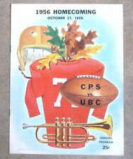 BRITISH COLUMBIA @ PUGET SOUND (WA) COLLEGE FOOTBALL PROGRAM - 1956 - EX SHAPE