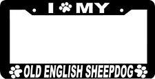 OLD ENGLISH SHEEPDOG DOG  paw print License Plate Frame