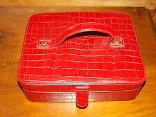 American Style Red Croc Leather Jewelry Box Travel Handle Hinged Cover Organizer