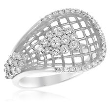 Cluster Diamond Right Hand Cocktail Ring 14K White Gold Pave Diamond Mesh
