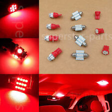 11PCS Red LED Lights Interior Package for T10 & 31mm Map Dome + License Plate