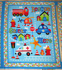 Be My Hero First Responder Fire Fighter Truck Police Fabric Panel 1 Yard  #1016P