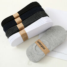 2 Pairs of White Men's Invisible Shoes Lined with Cotton Non-slip Silicone Socks