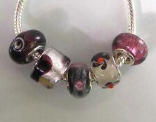 5 x Beads *** AUS ECHTEM SILBER und Glasperle, weinrot