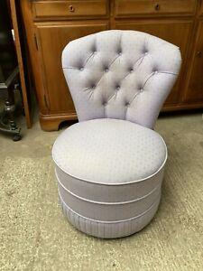 Vintage Antique Style Stuart Jones Purple Fabric Round Armless Bedroom Chair