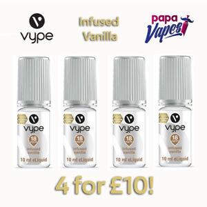 VYPE E-LIQUID 4 for £10! INFUSED VANILLA   NIC SALT   3MG 6MG 12MG 18MG 10ML