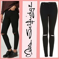 ex - Miss Selfridge Lizzie 'Ripped Knee' Black Super Skinny Jeans RRP £37