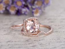 3Ct Cushion Cut Morganite Simlnt Diamond Engagement Ring Set Silver Rose Gold FN