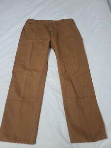 Carhartt B01 BRN Duck Double Knee Work Dungaree Pants Mens 42 X 34 - M7260