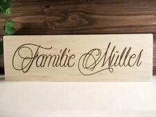 persönliche Gravur - Ihr Name - Familie - Holz Dekoschild mit Wunschgravur - NEU