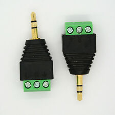 3.5mm Stereo Phone Audio Male Plug Connector Adapter to Terminal Dual Channel 2x