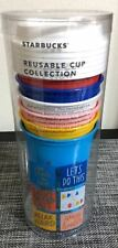 2018 Starbucks Reusable Cup Collection Coffee Tea Cup Tumbler Lid 16 oz - 6 Pack