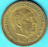 Spanien 1963 - Caudillo Franco - Una Peseta Aluminium-Bronze - Münze
