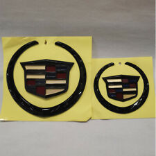 Set of 2 Black Color Cadillac Grille+Rear Emblem Badge Ornament Symbol Escalade