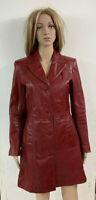 Cappotto Donna Rosso Lungo Vera Pelle Tasche Taglia M Slim Fit Redskins
