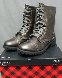 ARIZONA women AZ JONES memory foam lace up combat boot Multiple Sizes Pewter NEW