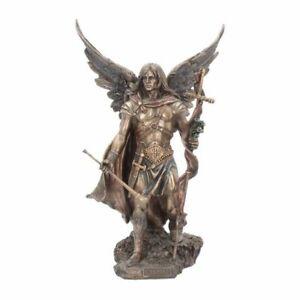 GABRIEL WITH STAFF Bronzed Ornament Archangel Angel Willow Hall Nemesis Now 33cm
