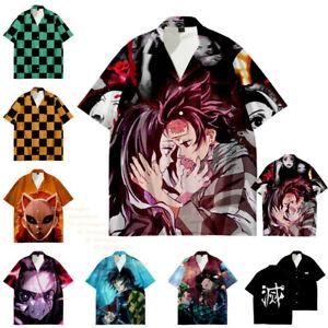 Unisex Adult Teens Casual Anime Shirt Demon Slayer Tanjirou Zenitsu Cosplay Tops