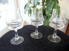 "Set of 3 Bohemian Crystal Brandy Glasses 6"" Tall"