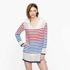 "Lemlem Liya Kebede Blue Red Striped ""Konjo Gauze Hoodie"" Shirt Top Size L $238"