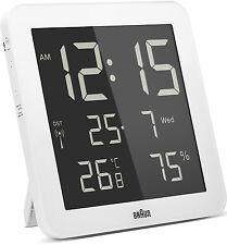 Braun Radio Controlled Digital Wall Clock - White BNC014WH-RC