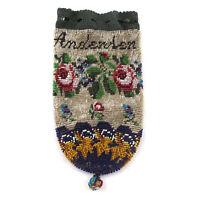Antique Victorian Signed Beaded Reticule Drawstring Purse Bag c.1890