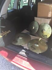 """More details for free p&p. set of sabian solar cymbals. 20"""" ride, 16"""" crash, 14"""" hi hats. cs905a"""