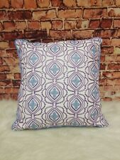 """Sky Foulard Embroidered Lilac Blue 16""""X16"""" Decorative Pillows"""