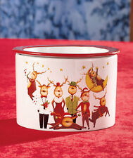 2 Pc Reindeer Tabletop Collection Stoneware Dip Chiller 10 oz Bowl & 26 oz Base