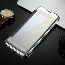 Luxury Mirror Plating Clear View Flip Folio Phone Case Slim Hard PC Bumper Cover