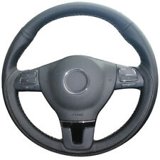 Black Natural Leather Car Steering Wheel Cover for Volkswagen Passat CC Mk6