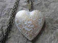 BRONZE HEART LOCKET - WHITE WASHED - ANTIQUE LOOK - HANDMADE