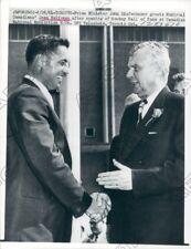 1961 Canadian PM John Diefenbaker Met Hockey Center Jean Beliveau Press Photo
