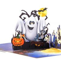 Happy Halloween Cards Ghost Pumpkin 3D Paper Pop Up Postcards Greeting Card-Gift