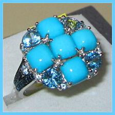 Sleeping Beauty Turguoise TGW 6.35 Blue Topaz Diamond Ring Sterling Silver sz 9