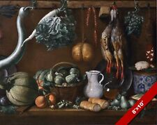 STILL LIFE PANTRY FOOD ON A TABLE VEGETABLES FOWL PAINTING ART REAL CANVAS PRINT