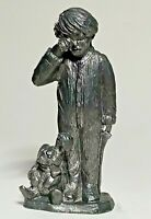 1990 Vintage Michael Ricker Pewter Figurine Gift List Sleepy Christmas Child Boy