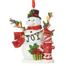 """Raz SNOW DOG Christmas Ornament 4"""" JOY + hydrant Raz 3907041"""