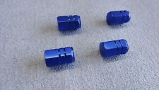 BMW 3 5 7 SERIES BLUE METAL DUST VALVE CAPS TYRE WHEEL ALUMINIUM HEXAGON COVER