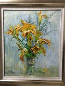 Framed Authentic Signed Oil Flower Painting 45 cm x 55 cm