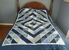 """Beautiful New Hand Quilted Shades of Blue """"Radiant"""" Pattern Patchwork Quilt"""