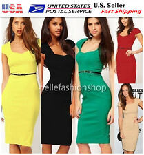 Women Square Neck Pinup Rockabilly Bodycon Business Party Pencil  Dress #046-047