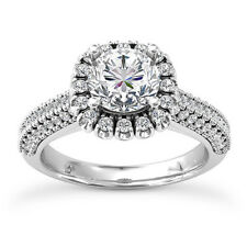 Halo Pave 1.50 Carat SI1/H Real Round Cut Diamond Engagement Ring White Gold