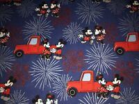 "NEW COTTON Fabric FAT 1/4yd=18x22"" MICKEY MOUSE MINNIE JULY 4 FIREWORKS DIY MASK"