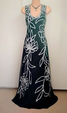 PHASE EIGHT Tape Work Maxi Dress Size 14 Black Double Layered Evening Party