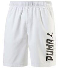 New Mens PUMA Logo Shorts Casual Swim Swimming Beach Summer Holiday - White