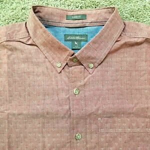 Eddie Bauer Large Classic Fit Short Sleeve Shirt Red Geometric